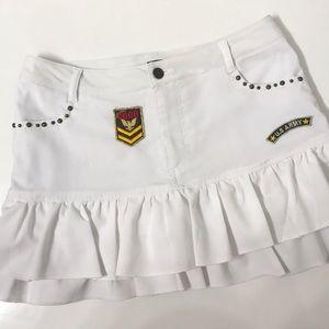 🍁 Boa Style White Ruffle Military Mini Skirt